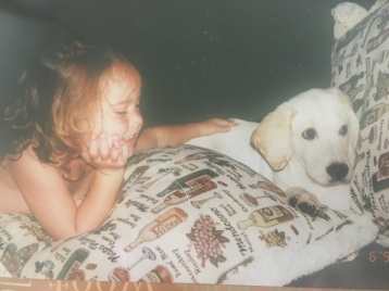 Little Brooke with the ever patient Bonnie since I was always laying all over her